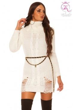 """Белое """"рваное"""" платье-свитер KC5009"""