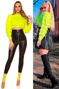 Укороченный вязаный пуловер (неоновый желтый)