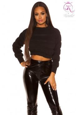 Укороченный женский черный пуловер KC1246
