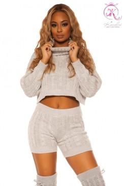Укороченный вязаный свитер и шорты KC3017