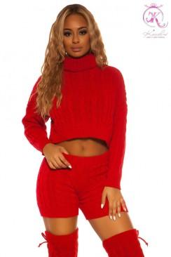 Красный вязаный свитер и шорты KouCla
