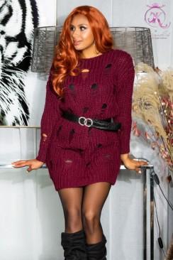 Cвитер-платье бордового цвета KouCla