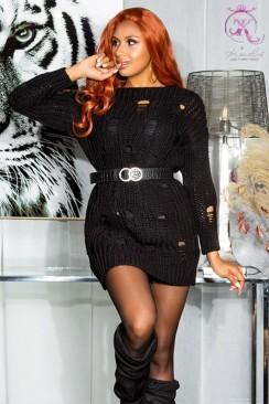Вязаный длинный свитер-платье KC5375