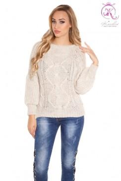Вязаный женский свитер KC1284-Beige