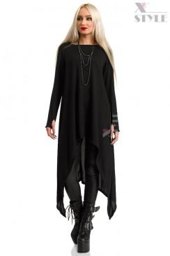 Длинный черный свитер с рукавами-митенками