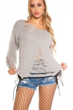 Рваный серый свитер с молниями