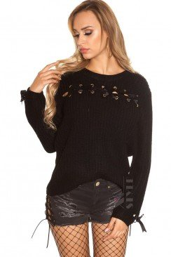 Женский свитер со шнуровками спереди и сзади