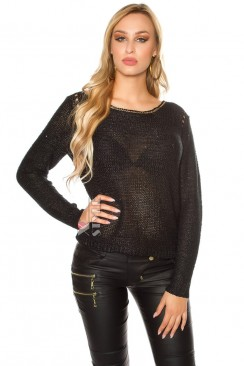 Плетеный черный джемпер UFc55