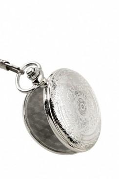 Серебристые часы с красивой гравировкой