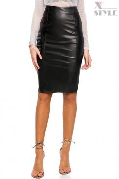 Кожаная юбка-карандаш X7111