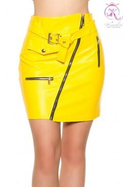 Кожаная юбка с поясом KouCla