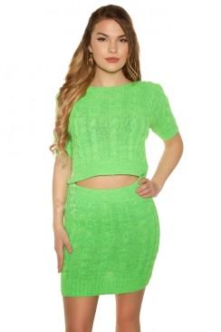 Вязаный комплект: топ и юбка (неоновый зеленый)