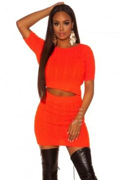Яркий вязаный джемпер-топ и юбка (Neon Orange)