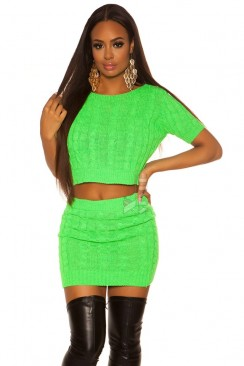 Вязаный комплект: джемпер и юбка (неоновый зеленый)