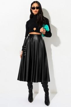 Черная кожаная юбка миди X7200