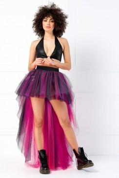 Фестивальная двухсторонняя юбка-пачка со шлейфом (черный/фуксия)