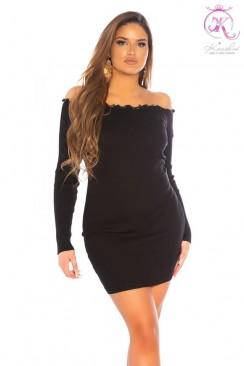 Короткое черное платье с воланами сверху KouCla