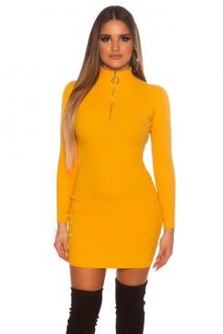 Вязаное платье горчичного цвета MF5016