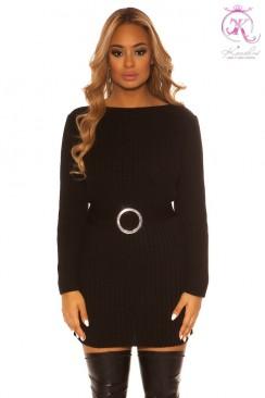 Вязаное черное платье с разрезами KouCla