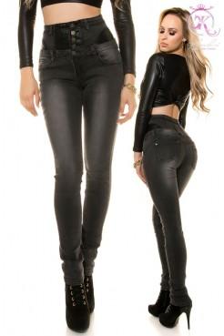 Черные джинсы с высокой талией KouCla