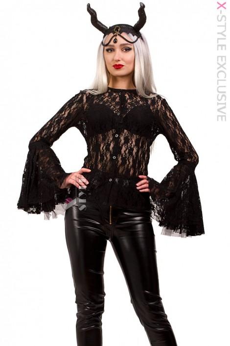 Ажурная черная блузка X1216 (101216)