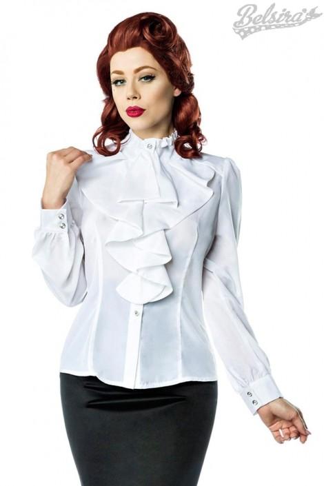 Белая блуза с жабо Belsira (101154)