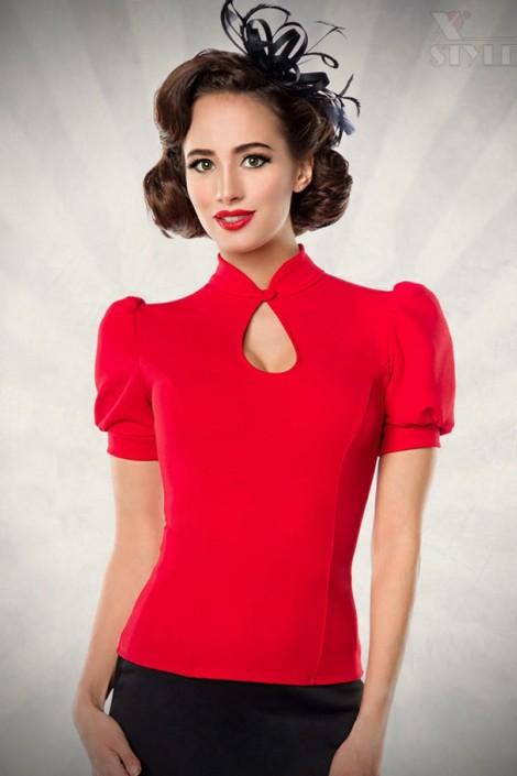 Красная блузка в стиле Ретро (101189)