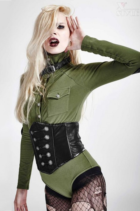 Leather military style fetish tops