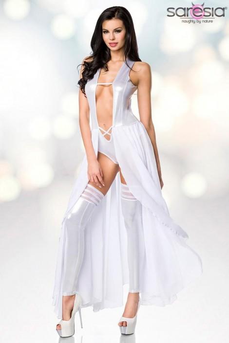 Откровенное серебристое платье-боди и гетры S215 (126215)