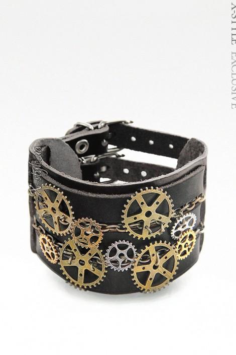 Кожаный браслет Стимпанк (710162)