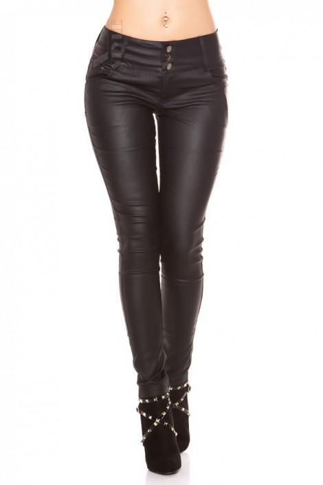 Черные джинсы с эффектом кожи MF085 (108085)