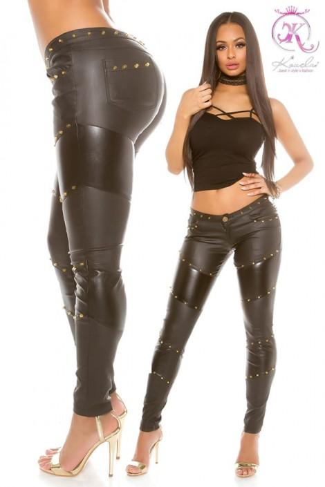 Брюки-джинсы с имитацией кожи KouCla (108100)