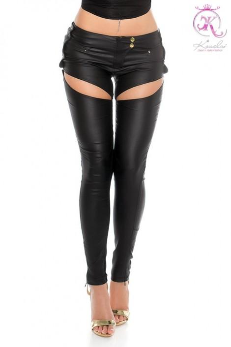 Джинсовые брюки с имитацией кожи (108068)
