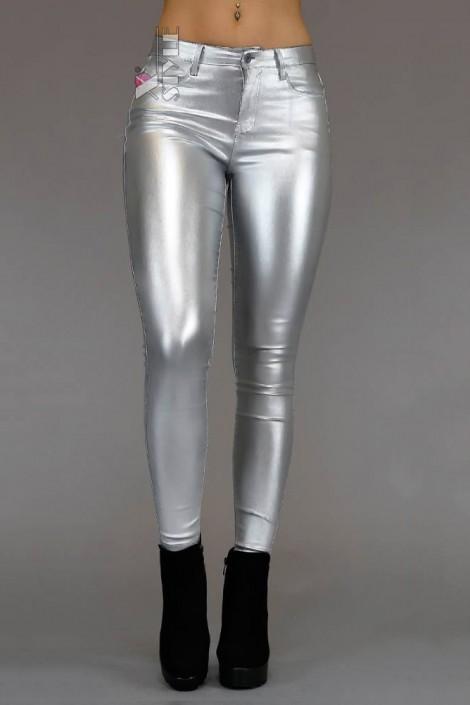 Серебристые облегающие брюки X8111 (108111)