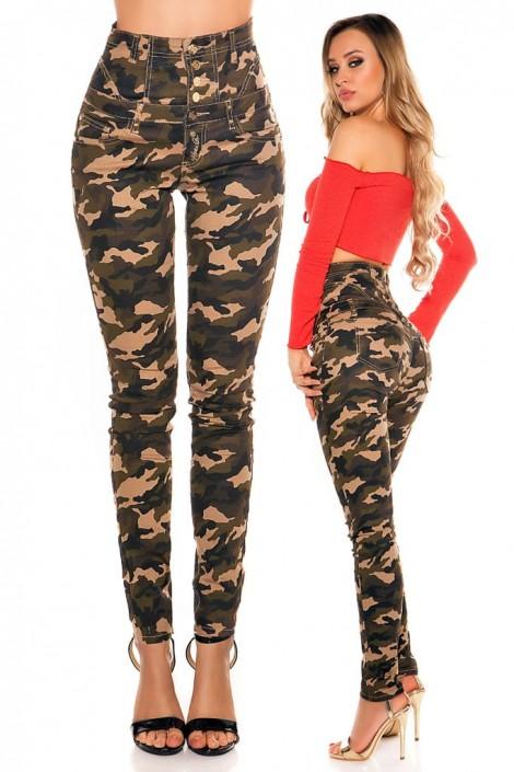 Камуфляжные джинсы с высоким поясом KouCla (108116)