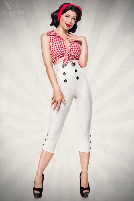 Белые брюки с высокой талией 057 (108057)