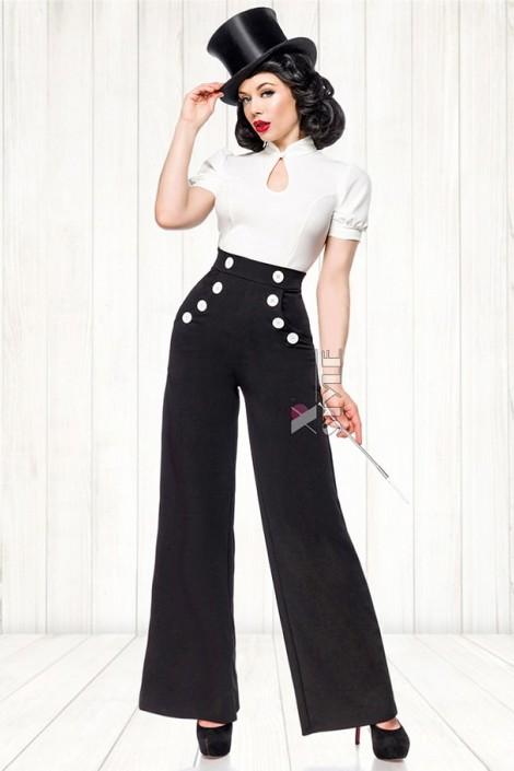 Широкие брюки с карманами и высоким поясом (108061)