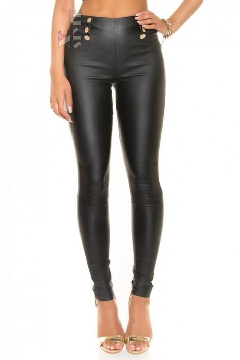 Кожаные брюки с высокой талией KouCla (108076)