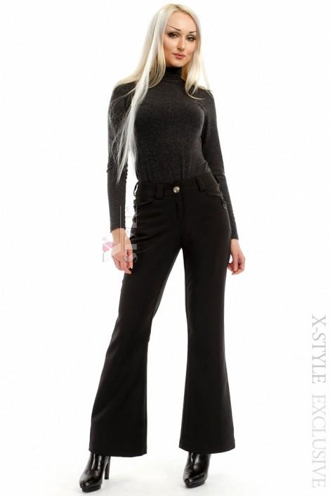 Черные брюки клеш на флисе (108051)