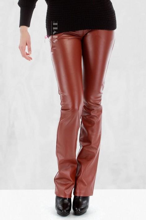 Кожаные брюки на флисе (108048)