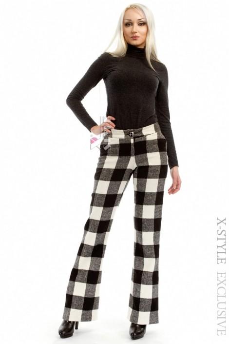 Теплые клетчатые брюки-клеш Xstyle (108049)