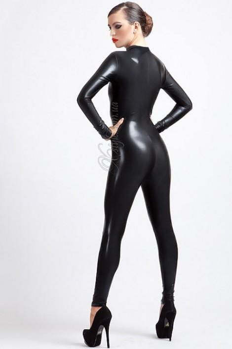 Черный кожаный кэтсьюит (126122)