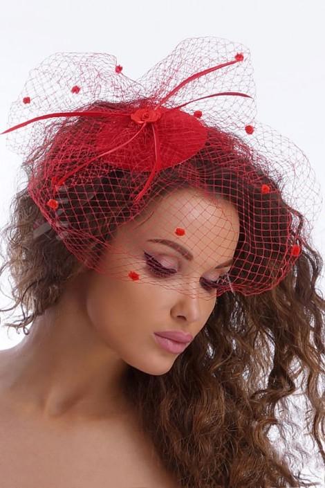 Красная шляпка с вуалью A2014 (502014)