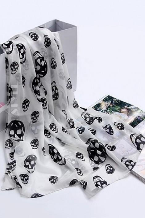 Шифоновый шарф с черепами (714528)