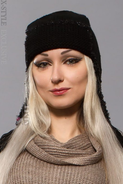 вязаная шапка ушанка женская 502038 купить недорого в киеве