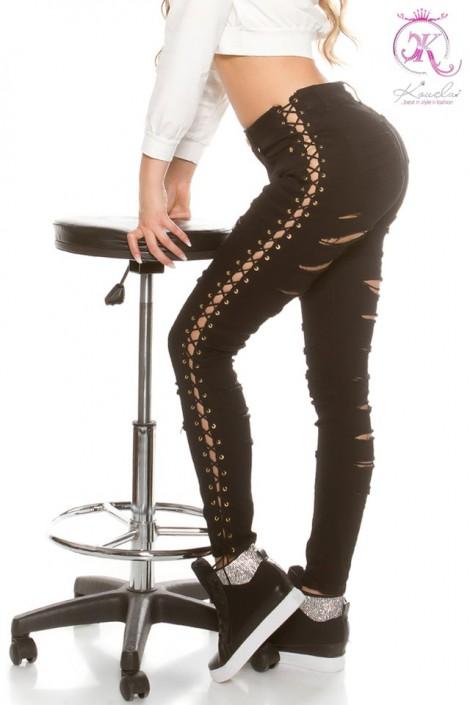 Черные джинсы со шнуровкой и прорезями KouCla (108109)