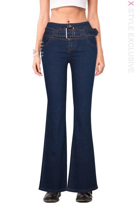 Синие джинсы клеш с поясом X8117 (108117)