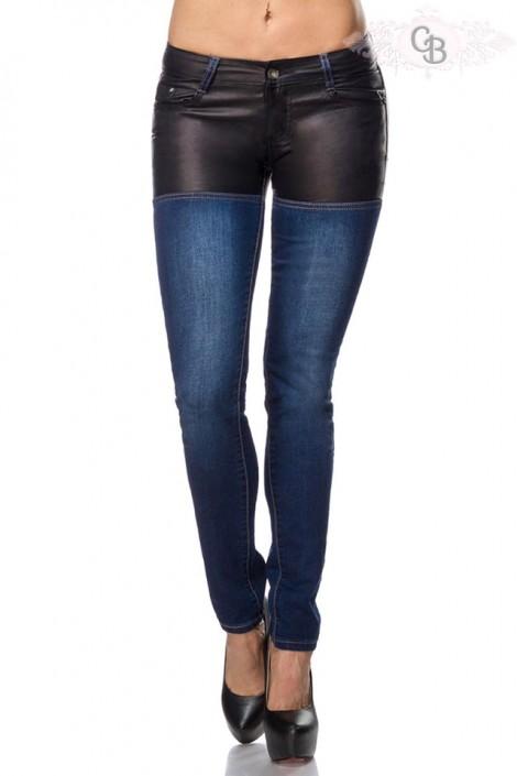 Джинсы с кожаными шортами Chic BonBon (108029)