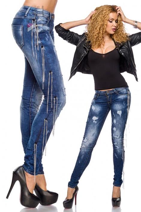 Зауженные джинсы с цепями (108037)
