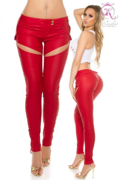 Красные брюки-джинсы под кожу (108067)